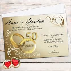 golden wedding anniversary invitations uk 50 personalised golden 50th wedding anniversary invitations invites n1 ebay