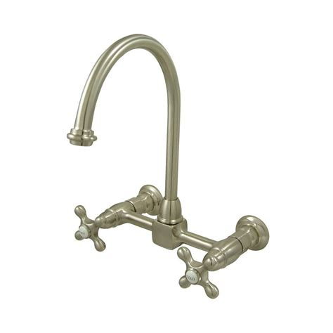 shop elements of design satin nickel 2 handle high arc wall mount kitchen faucet at lowes