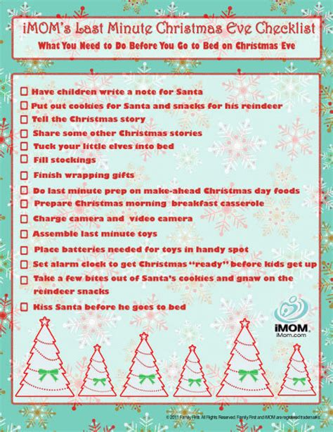 christmas eve checklist imom