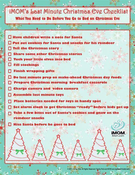 christmas eve checklist imom