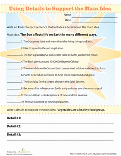 Idea And Supporting Details Worksheets 2nd Grade by Identify Supporting Details Worksheet Education