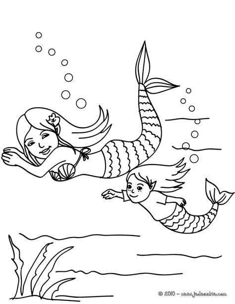 coloring page baby mermaid coloriages sir 232 ne et b 233 b 233 sir 232 ne dans l eau 224 colorier