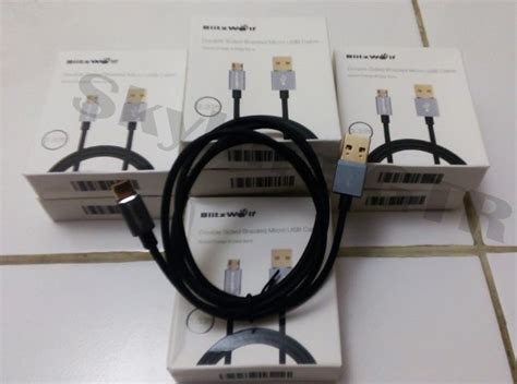 Kabel Data Blitz jual kabel charger braided blitzwolf reversible sided usb a to sided micro b