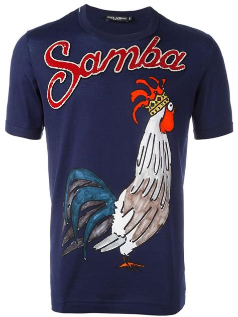 Polo Shirt Rooster Fabulous 12 lyst dolce gabbana samba rooster print t shirt in blue for