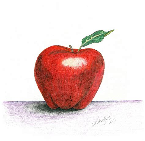 colored apple colored pencil drawing apple