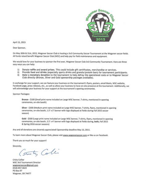 Sponsorship Letter For Soccer Tournament 3v3 Sponsor Letters Sent Wagoner Soccer