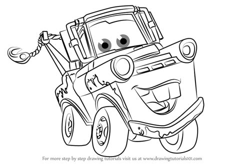 Cars 3 Sketches by Step By Step How To Draw Tow Mater From Cars 3