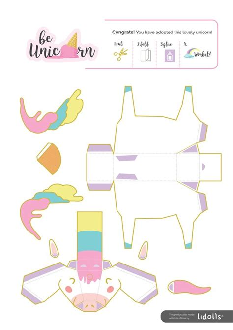 Diy Unicorn Papercraft Printable Download Diy Party Decorations Kids Toys From Unicorn Craft Template