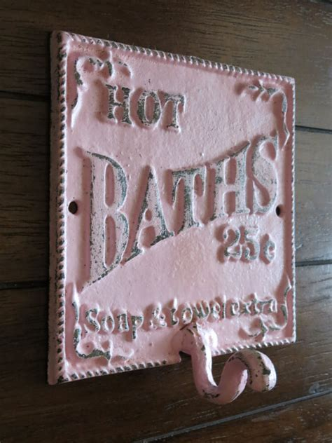 Shabby Chic Bathroom Hook Cast Iron Sign Towel Wall Hook Shabby Chic Bathroom Sign