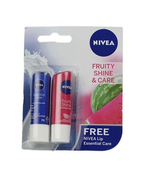 Lip Nivea 1 nivea fruity shine watermelon 4 8gm essential lip balm 4 8gm free buy nivea fruity shine