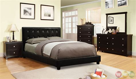 vengo european black platform bedroom set with padded