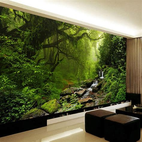 room wall murals photo wallpaper 3d stereo forest nature landscape wall mural living room ebay