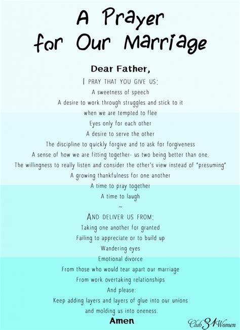 A Marriage Free A Prayer For Oneness In Our Marriage With Free Printable Club 31