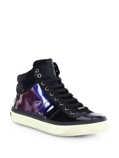 jimmy choo sneakers mens jimmy choo belgravi hologram high top sneakers in purple