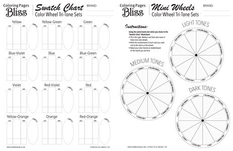 coloring pages bliss color chart color wheel tri tone sets worksheets