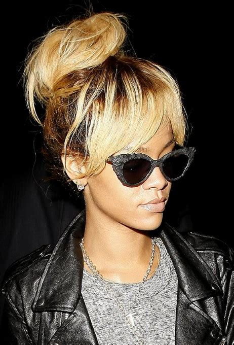 images of a messy bun with bang no hair out rihanna high bun updo stylish messy bun updos with bangs