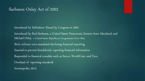 section 404 of the sarbanes oxley act states that sarbanes oxley act analysis acc 628 week ip