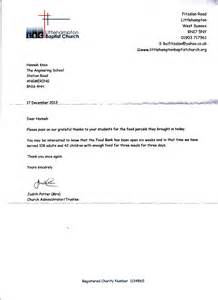 a thank you letter from littlehton food bank
