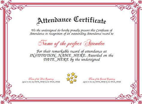templates for certificates of attendance attendance certificate templates 24 free word pdf