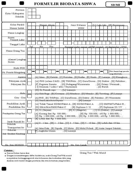 format biodata siswa doc formulir biodata siswa