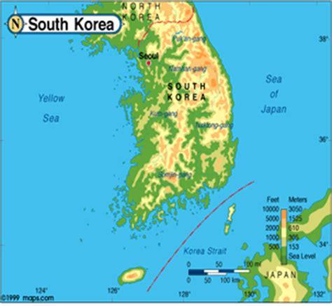 physical map of south korea south korea study tour 2008 geography