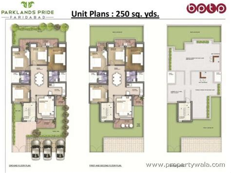 Bptp Parkland Pride Bptp Faridabad Residential Duplex House Plans For 250 Square Yards