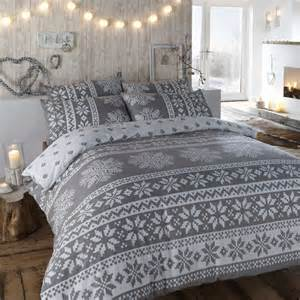 Brushed Cotton Duvet Set Duvet Cover In Grey Winter Bedding In A Warm Flannelette
