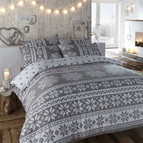 winter bed sheets duvet cover in grey winter bedding in a warm flannelette