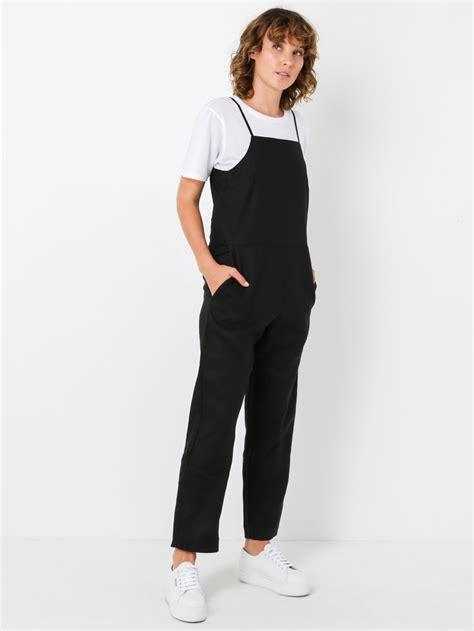 Flow Jumpsuit assembly label flow linen jumpsuit in black
