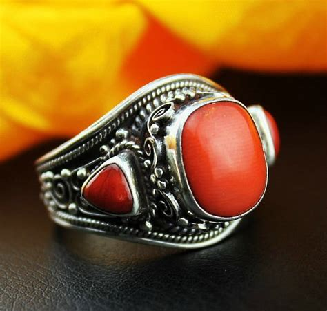 handmade coral ring sterling silver coral ring 10 5