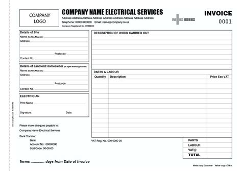work card template electrical sheet template