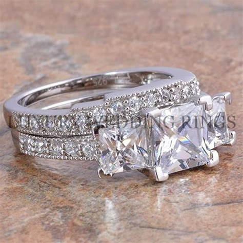 3 75ct princess cut 3 engagement wedding ring set