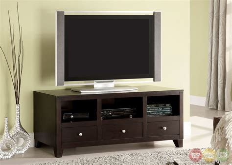 capulin espresso tv console with drawers and open shelves