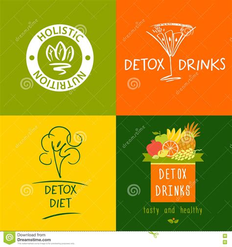 Diet By Design Detox by Set Of Vector Logo Detox Drink Diet And Holistic