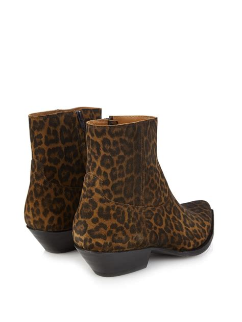 mens leopard print boots laurent leopard print suede ankle boots in brown for