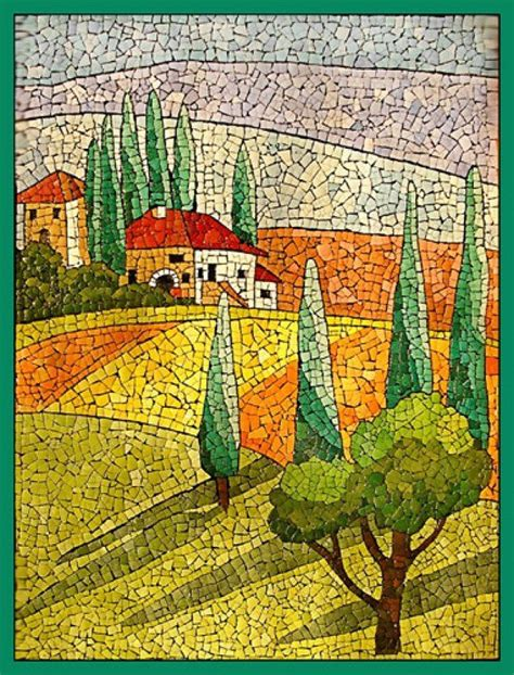 mosaic pattern landscape con cascaras de huevos manualidades