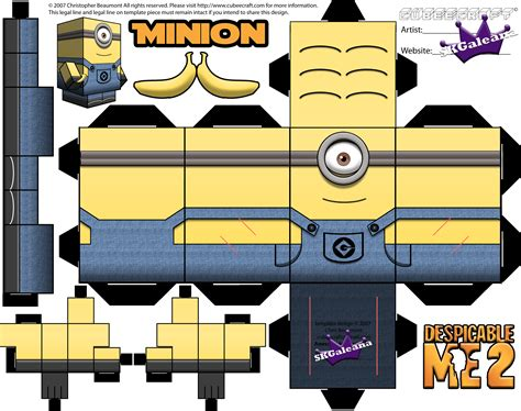 Despicable Me Papercraft - minion cubeecraft printables from despicable me 1 and 2