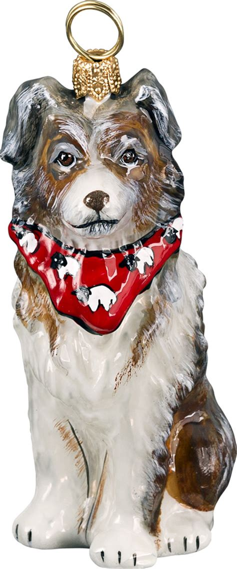 australian shepherd ornaments australian shepherd with bandana ornament