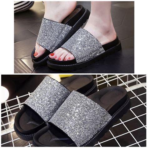 Sepatu Sendal Wanita Casual jual shs512 silver sendal wedges casual cantik 3cm