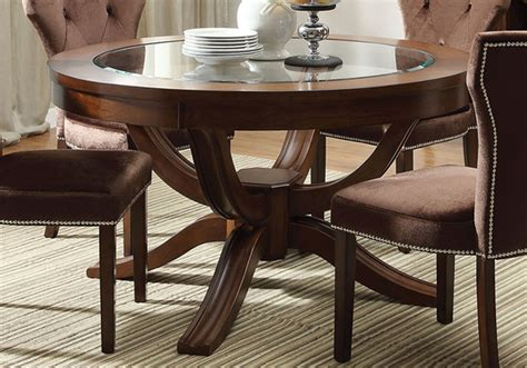 bellagio brown cherry round pedestal dining room set from furniture of america cm3319rt table kingston round pedestal dining table central glass top