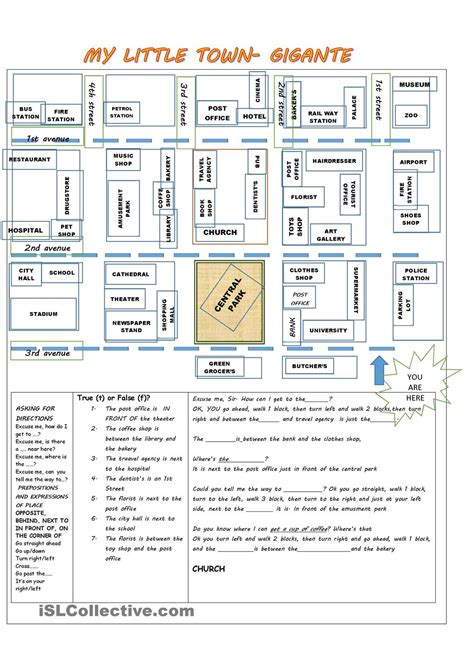 giving directions printable sheets giving directions prepositions of place places in a town