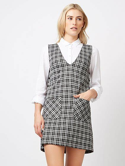 Checked Pinafore Dress check print v neck pinafore dress george