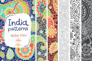 indian patterns in vector and jpeg patterns on creative