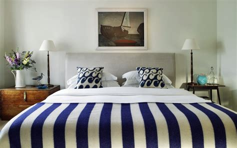 bed wallpaper blue stripes modern bed interior design wallpaper 2679