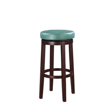 linon home decor vinyl bar stool in teal 98353tea 01