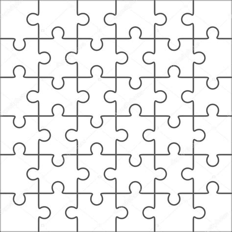 jigsaw pattern vector jigsaw puzzle blank template 36 pieces stock vector