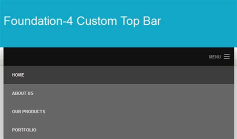how to customize the foundation 4 top bar