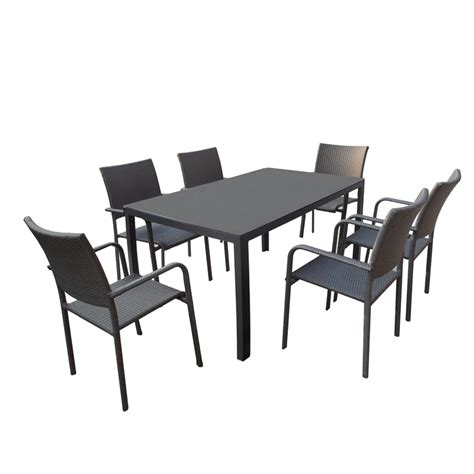 mimosa 7 piece aluminium and wicker setting bunnings