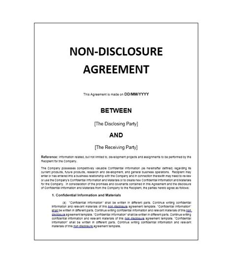 40 Non Disclosure Agreement Templates Sles Forms Template Lab Nda Agreement Template