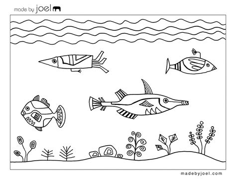 free pages template free printable designs by joel underwater fish